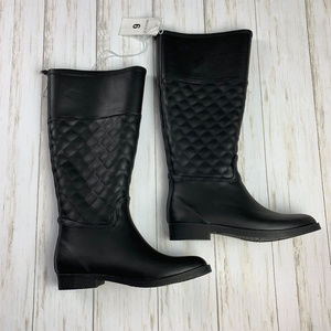 NWT Size 6 Black Rubber Boots, Below the Knee